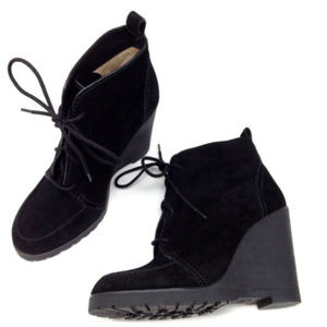 Michael Kors Black Suede Wedge Heeled Ankle Boots